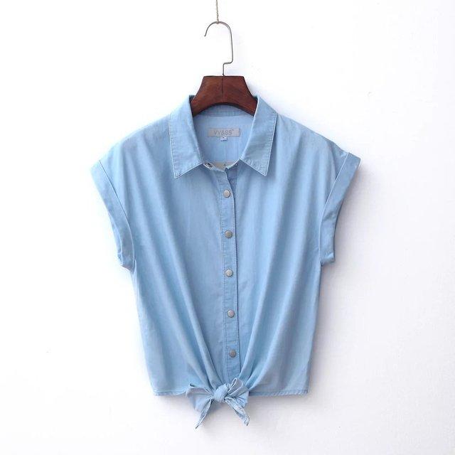 2016 new summer bow thin short-sleeved denim shirt knotted Shirt Small waistcoat