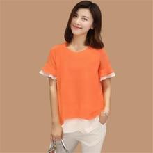 Camisa Mujer Tops señora Chemise La Camisa de talla grande blusa mujer verano oversize Hedging camisas verano Splice Camisa Top