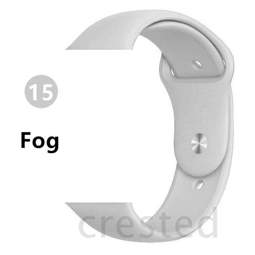 Силиконовый ремешок для apple watch 4 5 44 мм/40 мм спортивный ремешки для apple watch 3 42 мм/38 мм резиновый ремень браслет ремешок для часов apple watch Band Мягкий красочный ремешок iwatch series 4 3 2 1 - Цвет ремешка: Fog