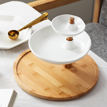 Rotatable 3 Tiers Ceramics Cake Stand Decorative Porcelain Serving Dinner Plate Bamboo Dinnerware for Dessert, Fruit and Sweet