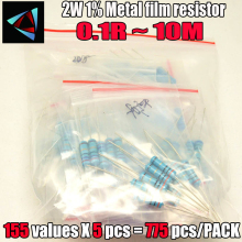 2W 1% 155valuesx5pcs = 775pcs 0.1R ~ 10M 1% Resistore a Film Metallico Assortiti Kit