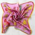 2016 Clássico Da Moda Padrão Animal do Lenço De Seda 100% De Seda Quadrado Pequeno Cachecóis Impresso Marca Outono 52*52 cm Rosa Lenço de seda