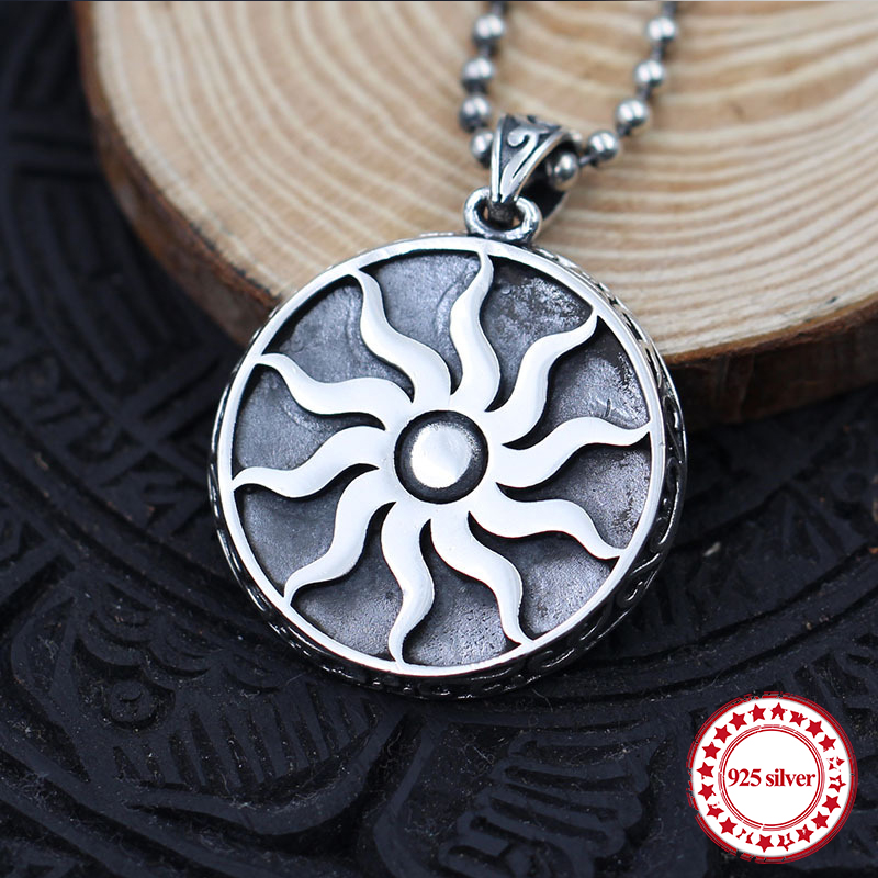 S925 sterling silver couple pendant personality classic retro fashion style supremacy sun pendant shape send lover jewelry giftS925 sterling silver couple pendant personality classic retro fashion style supremacy sun pendant shape send lover jewelry gift