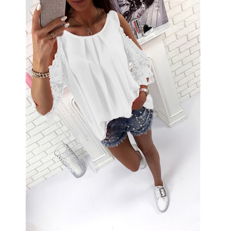 Oufisun Women's Tops   Blouse     Shirt   Summer Casual Hollow Out Sleeve Off Shoulder   Shirt   Lady   Blouse   Tunic Tops 2019 Fashion