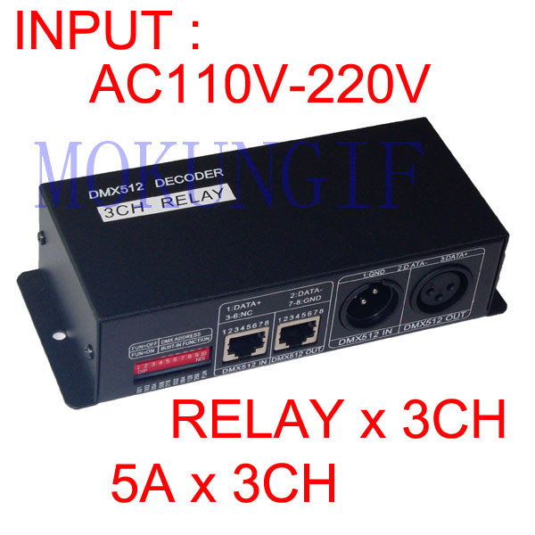 цена на 1pcs DMX-RELAY-3 channel relays 5A*3CH input AC110V-220V relay*3CH use for led lamp led strip WS-DMX-RELAY-3CH-KA