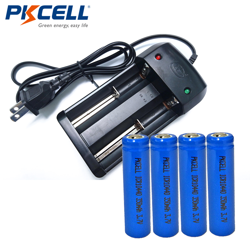 PKCELL 4 x 3.7V ICR 10440 350mAh AAA Lithium Rechargeable Battery+ 2Solt Battery Charger for ICR 10440 18650 18500 14500 US/EU image