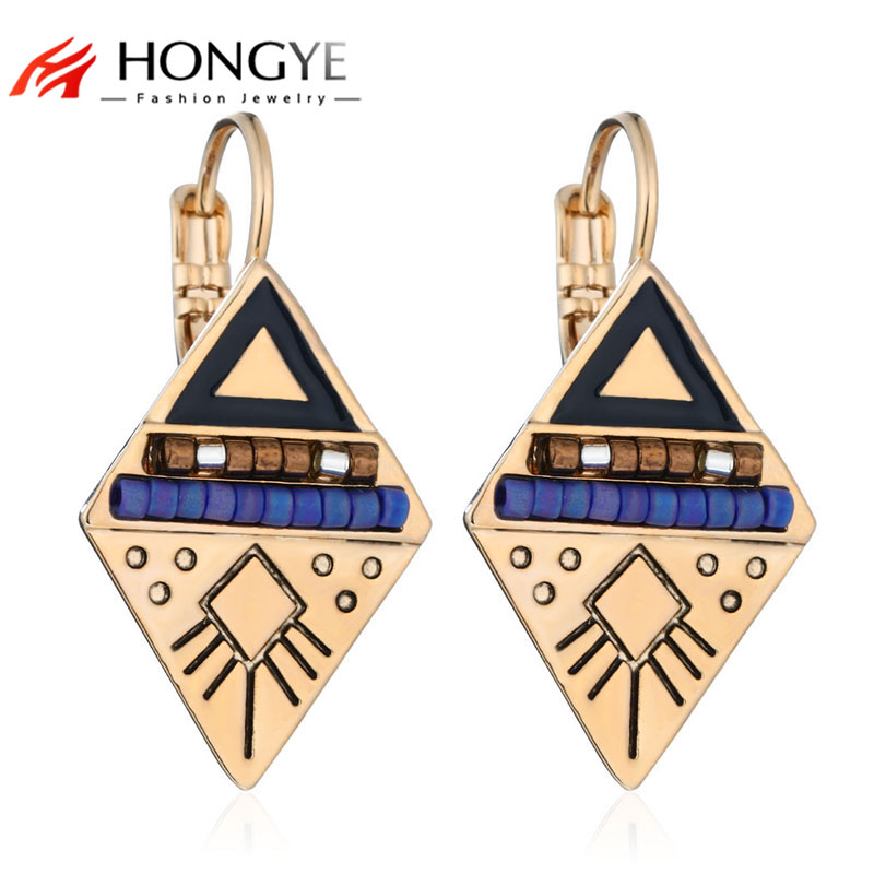 Top kvalitet Etniske vintage smykker Multi-Color Enameling Rhinestone Beaded Dobbelt Triangle Drop Earrings Pendientes Women Charms