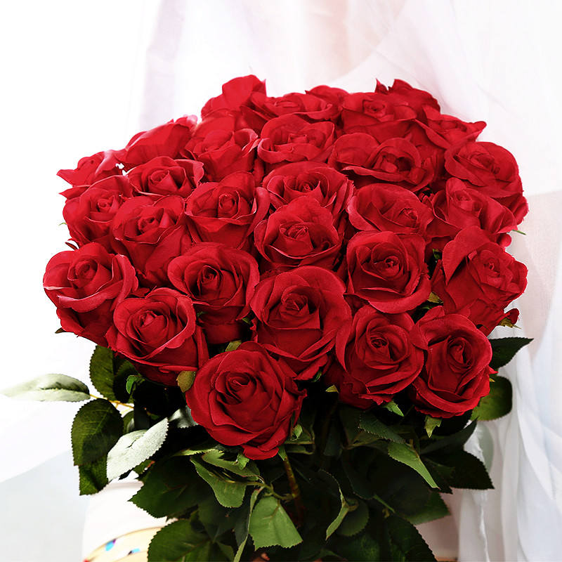 Popular silk red roses buy cheap silk red roses lots from for Buying roses on valentines day