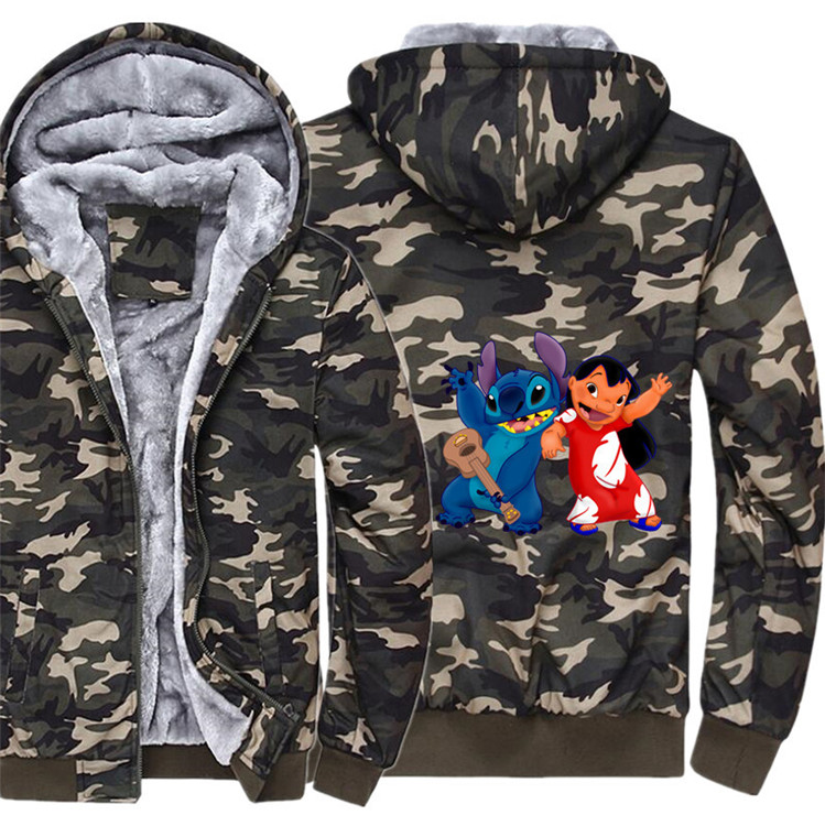 Anime stitch Hoodie Winter Casual Super Warm Camouflage Coat Thicken Warm Zipper Hooded Casual Sweatshirts