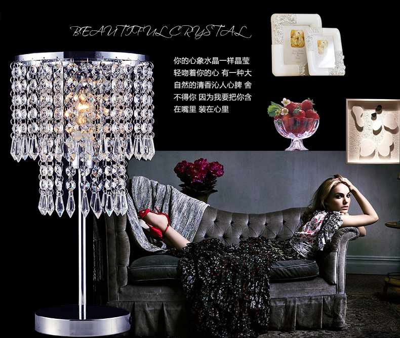 Modern brief k9 crystal curtain luxury table lamp ofhead quality romantic decoration lamp modern brief fashion ofhead lamps table lamp