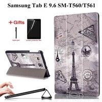 Fino caso de couro do plutônio para samsung tab e 9.6 t560 t561 capa funda para samsung galaxy tab e 9.6 t560 SM T560 tablet caso + filme + caneta|Estojo p/ tablets e e-books| |  -
