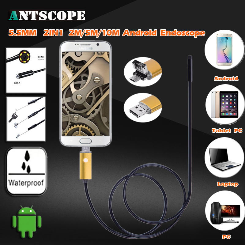 Endoscope 5.5mm Lens 2IN1 Android HD USB Endoscope Camera 2M/5M/10M OTG USB Snake Tube Inspection Camera IP68 Waterproof 6PC LED