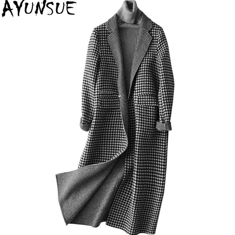 AYUNSUE Wool Coat Women 2019 Fashion Autumn Plaid Woolen Trench Coat Female Long Slim Women's Winter Jackets and Coats 37110