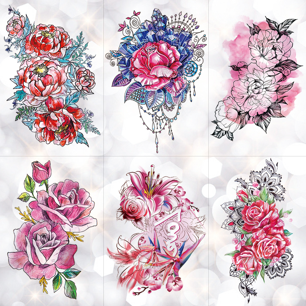 Peony Watercolor Flower Tattoos: Watercolor Triangle Geometric Round Rose Temporary Tattoo