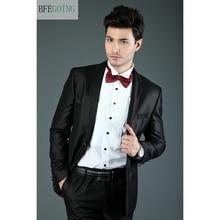Черный смокинг жениха однобортный костюм жениха+ жилет+ брюки+ галстук для свадьбы/Вечеринки