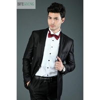 Black Bridegroom Tuxedos Single Breasted Groom Suit+ Vest +Pants +Tie For Wedding /Evening Party