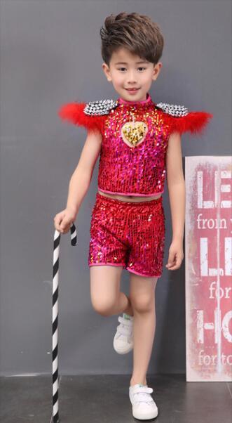 Детская одежда с блестками для бальных танцев, джаз, хип-хоп, сценическая одежда, костюмы для выступлений, одежда, топ, рубашка, шорты, сценическая одежда для мальчиков и девочек, танцевальные костюмы - Цвет: Красный