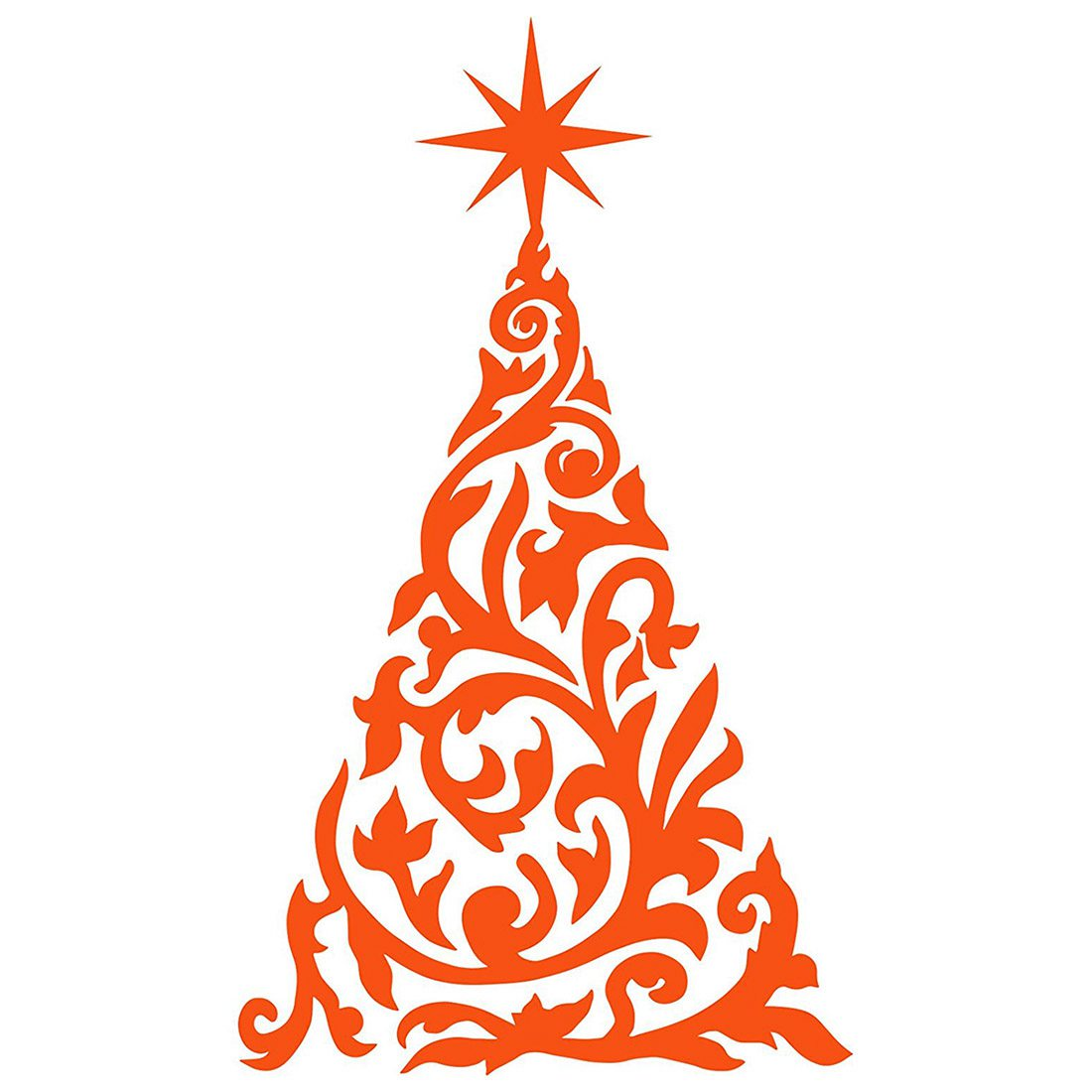 60cm*35cm Orange Christmas Tree, Christmas Decoration, Windows and Wall Sticker, Art, Xmas Decals, Ornament PVC Sticker