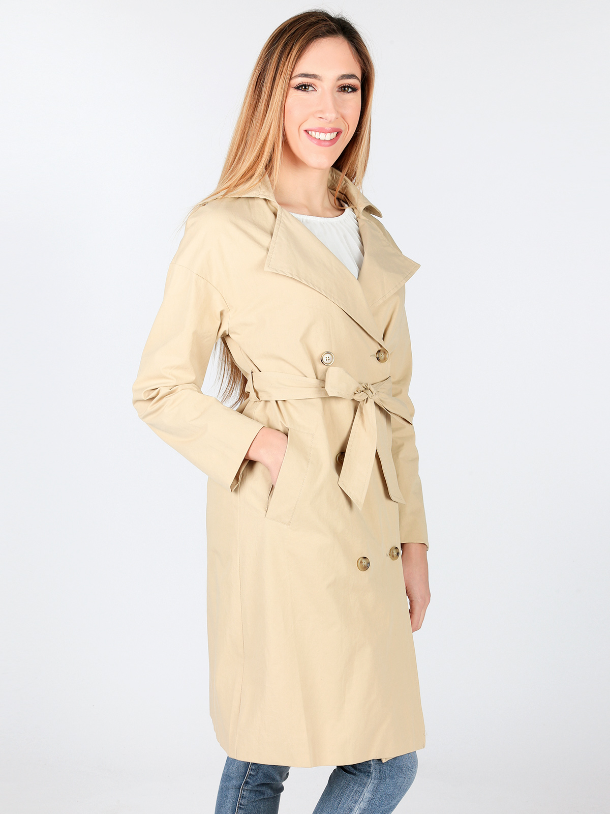 Woman Solid Spring Autumn Double-breasted Belt Classic Pocket Windbreaker