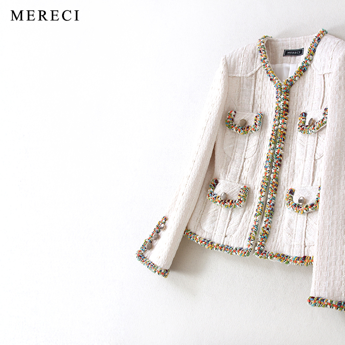 New  mixer beauty left Cuba shows spring cutting model of color woven female celebrities small sweet wind short coat