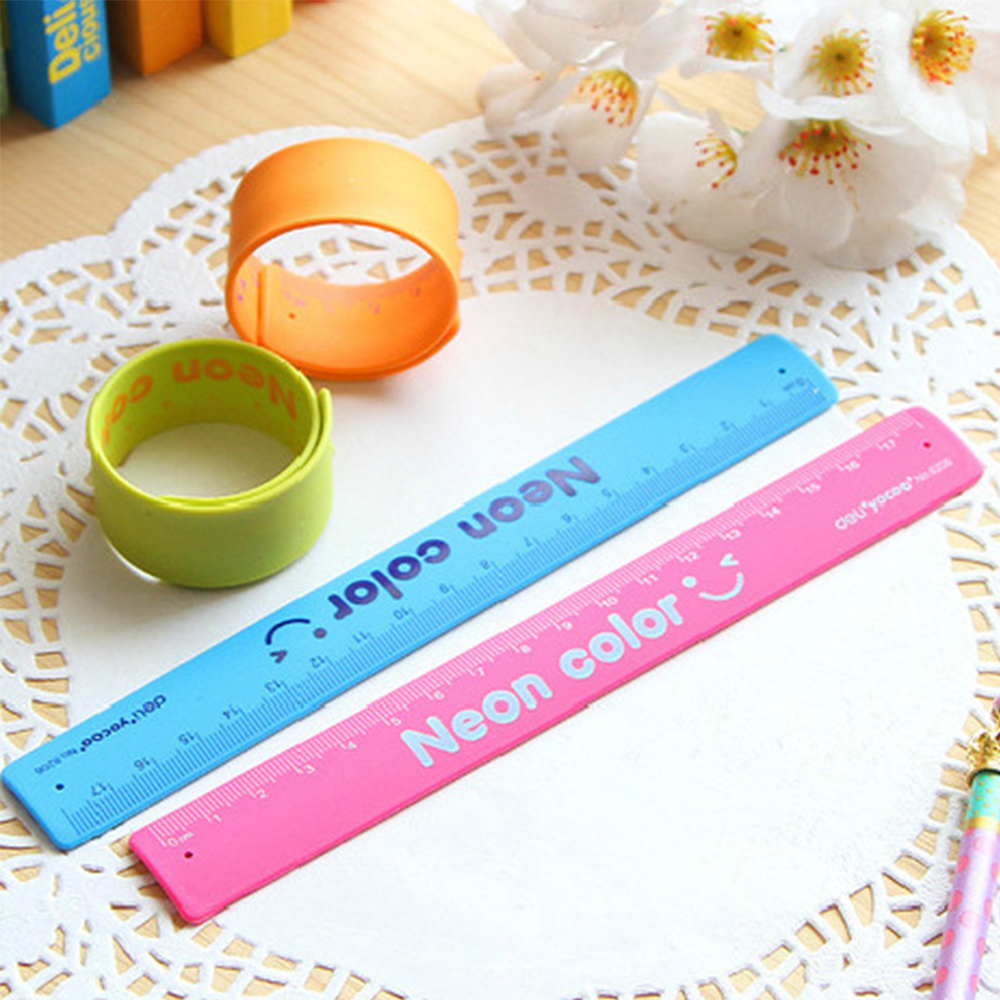 1pcs/lot Lackadaisical Deli Stationery Candy Color Child Ruler Hand Ring Chiban Free Shipping