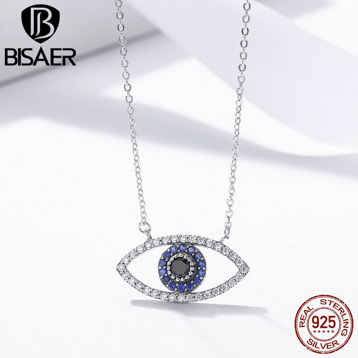 Authentic 100% 925 Sterling Silver Blue Eye of The Guardian Pendants Necklace for Women Necklaces Femme Collar Jewelry