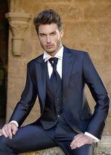 Latest Coat Pant Designs Navy Blue Satin Men Suit Slim Fit Suits Italian Tuxedo Custom 3 Piece Groom Prom Blazer Terno Masculino