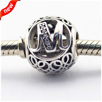 Fits Pandora Bracelets Alphabet Charms Beads for Jewelry Making Letter M Charm 925 Sterling-Silver-Jewelry Women DIY Jewelry