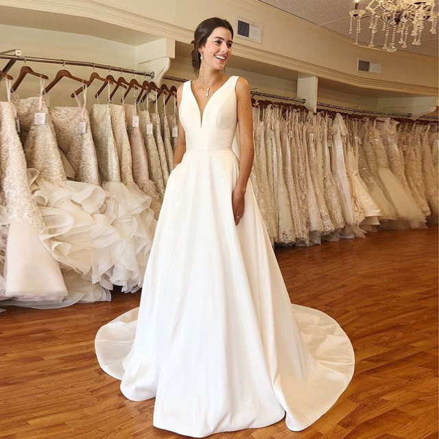 Autumn vestidos novias boda Wedding Dresses Satin Bridal Gowns sheer robe hochzeitskleid bestidos para bodas sexy ivory 1