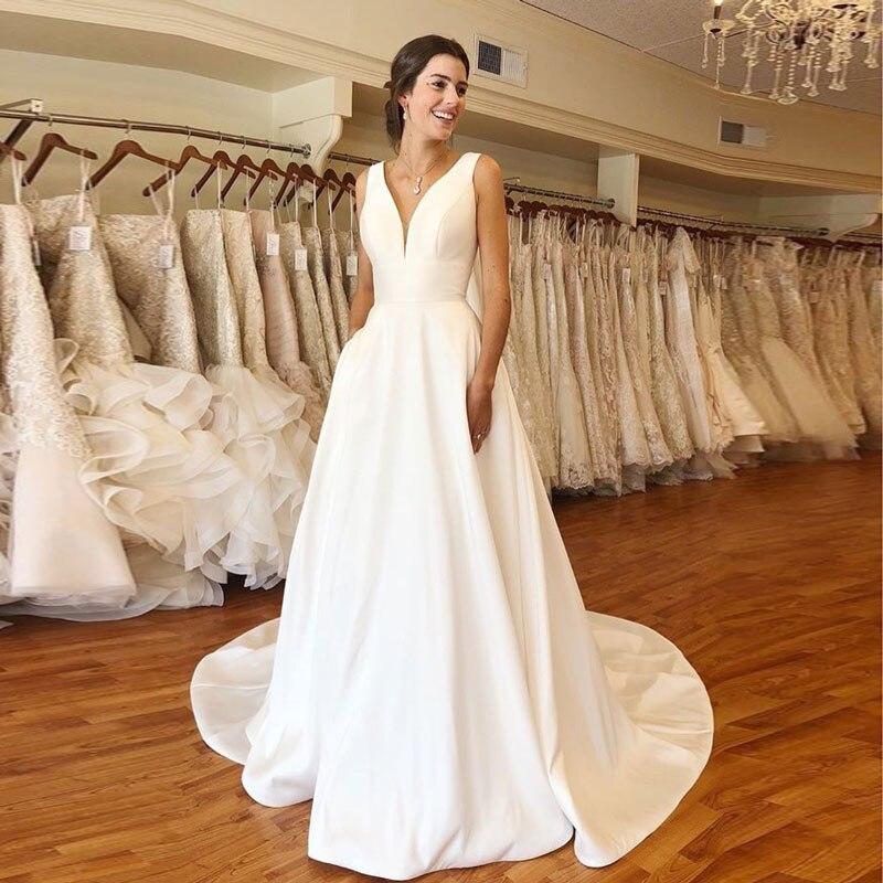 Autumn New Vestidos Novias Boda Wedding Dresses Satin Bridal Gowns Sheer Robe Hochzeitskleid Bestidos Para Bodas V-neck Ivory
