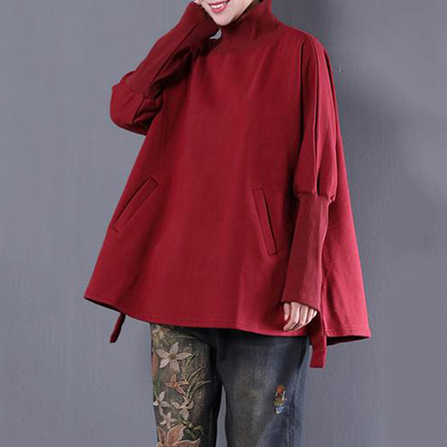 8cf875c9a21 5XL Plus Size Poncho Women Hoodies Sweatshirts 2019 Autumn Winter Turtleneck  Long Sleeve Oversized Pockets Loose Hoody Tops
