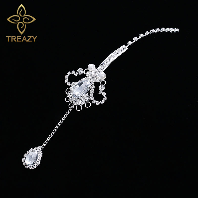TREAZY Indian Style Women Rhinestone Crystal Forehead Hair Accessories Tassel Teardrop Headband Wedding Bridal Hair Jewelry