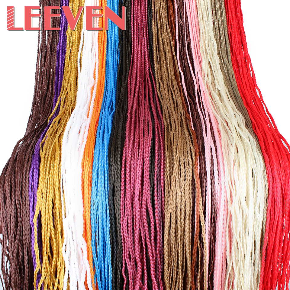 Leeven Hair-Extension Braids Crochet Braiding-Hair-Long Fiber Zizi-Box Pink Colorful