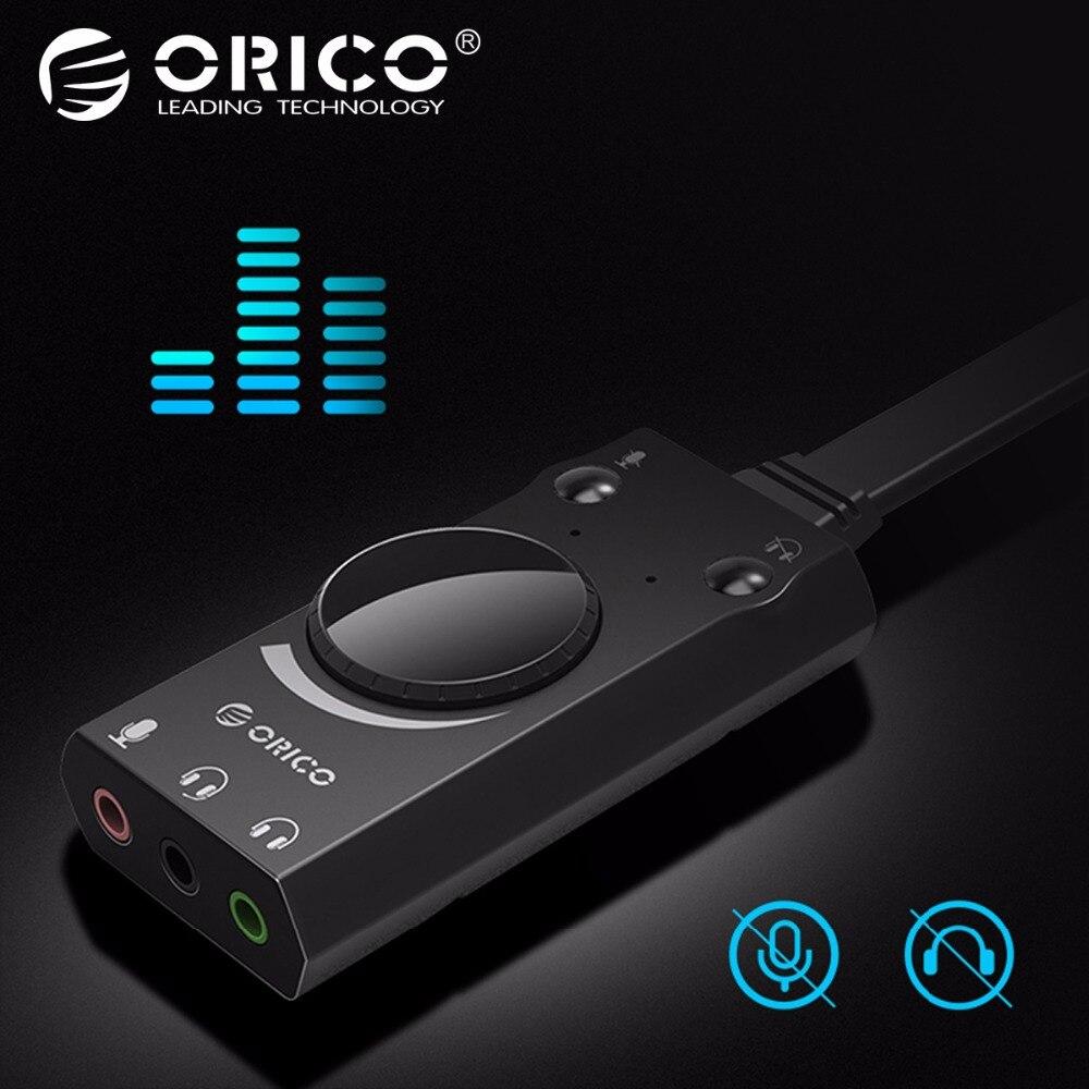 купить ORICO Portable USB External Sound Card Microphone Earphone Two-in-One With 3-Port Output Volume Adjustable For Windows/Mac/Linux по цене 600.29 рублей