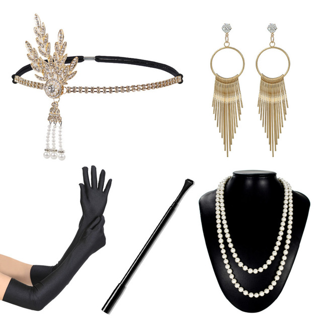 5pcs 1920s great gatsby theme party costume accessory set vintage