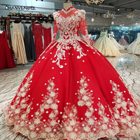 LS64411 high neck long tulle sleeve lace up back evening dress can make for muslim vintage red brides wedding party dress 2018