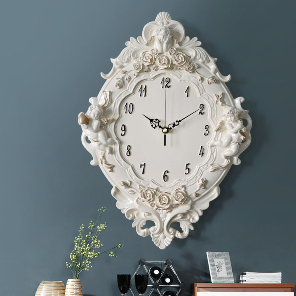 Creative decor European Retro resin Pastoral quartz clock Mute style Muted fashion rose flower round wall for gift Support