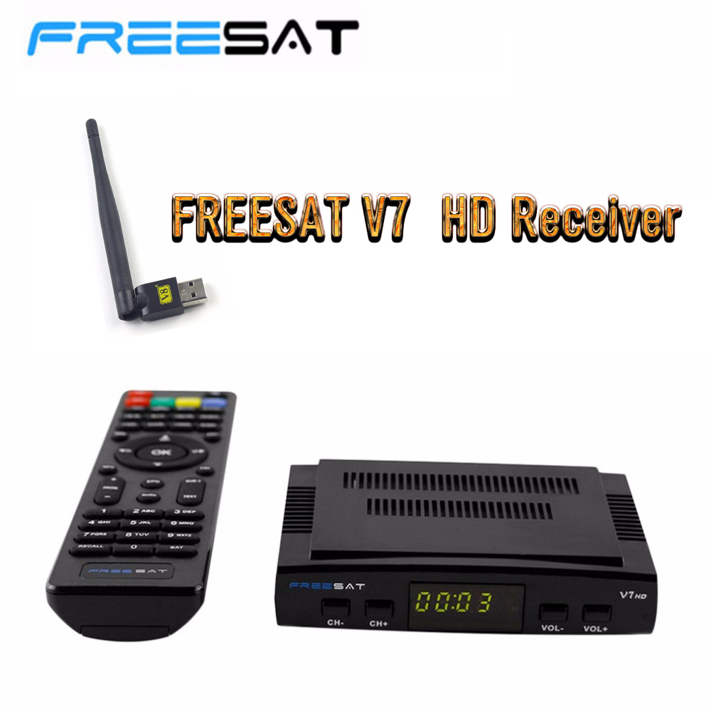 DVB-S2 Freesat V7 Receptor satellite Decoder+USB WIFI HD 1080p BISS Key Powervu Satellite Receiver High Quality dropshipping best v8 golden receptor satellite dvb t2 s2 c satellite receiver 1 year europe cccam cline support powervu biss key via usb wifi