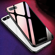 MAKAVO Tempered Glass Case for iPhone XS Max 8 Plus 7 X Luxury Hybrid Back Cover