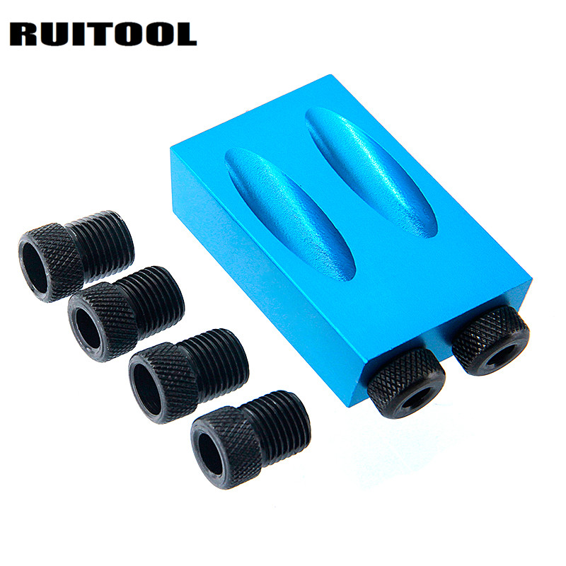 RUITOOL Pocket Hole Jig Kit 6/8/10mm Drive Adapter For Woodworking Angle Drilling Holes Guide Wood Tools 5 in 1 mini pocket hole drill dowel jig guide woodworking drilling locator 6 8 10mm