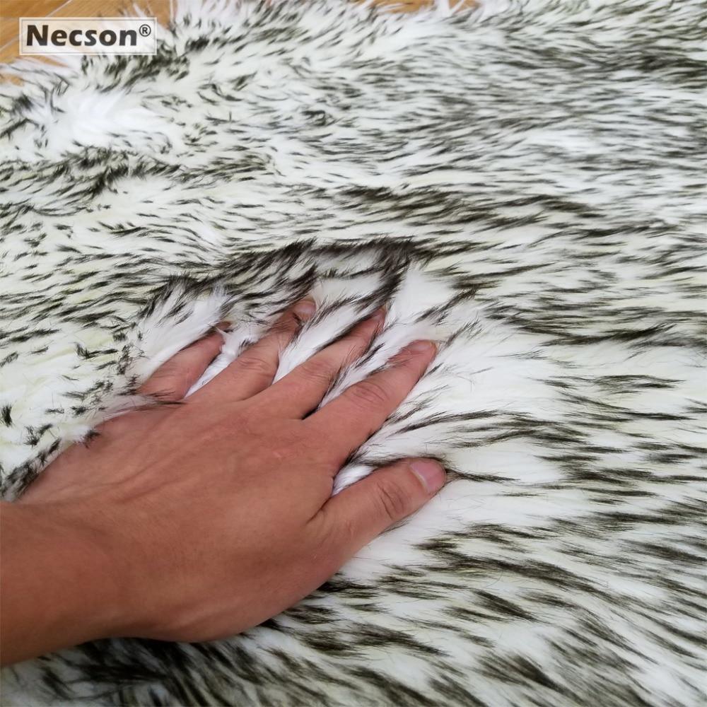 Gray Sheep Rug Seat Cushion Faux Skins Fur carpet Artificial Wool fox hair villi Grey Wolf grizzly Plush Tea table Bay window