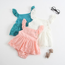 Baby Bodysuits Summer Baby Clothes Newborn 2018 USA Cotton Skirt Floral Sleeves Blue Pink White Dress Bodysuit bangladesh baby country series white blue or pink baby one piece bodysuit