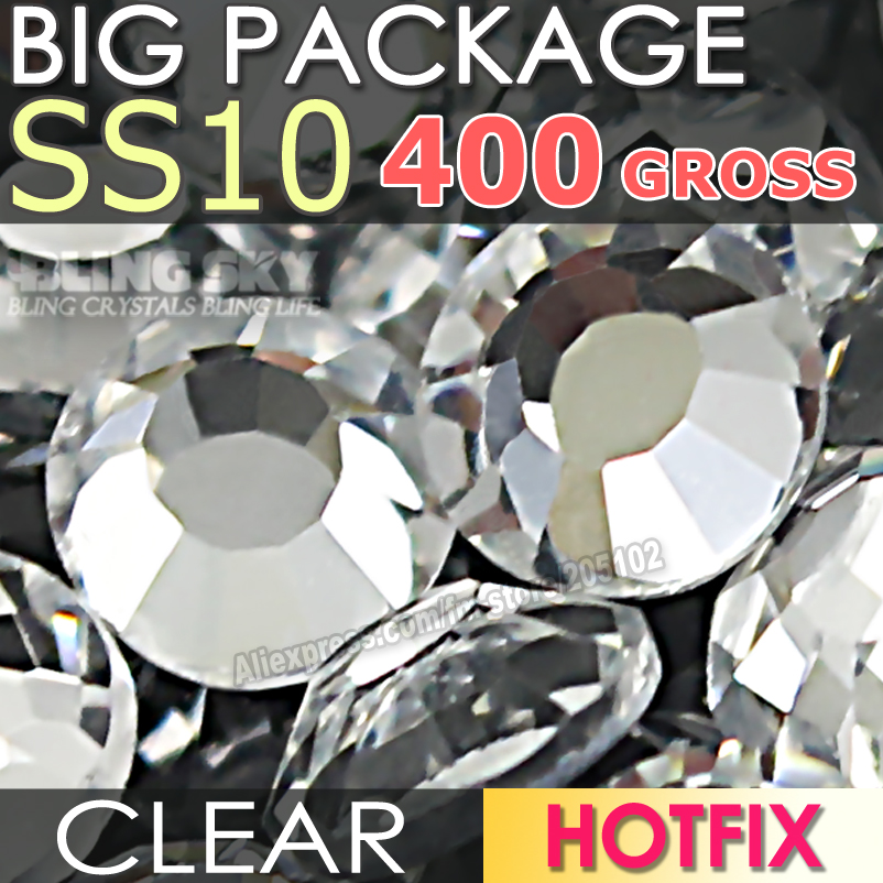 Big Package 400Gross SS10 Clear Crystal DMC HotFix FlatBack Rhinestones strass for Garment DIY glass Hot Fix stones glitters