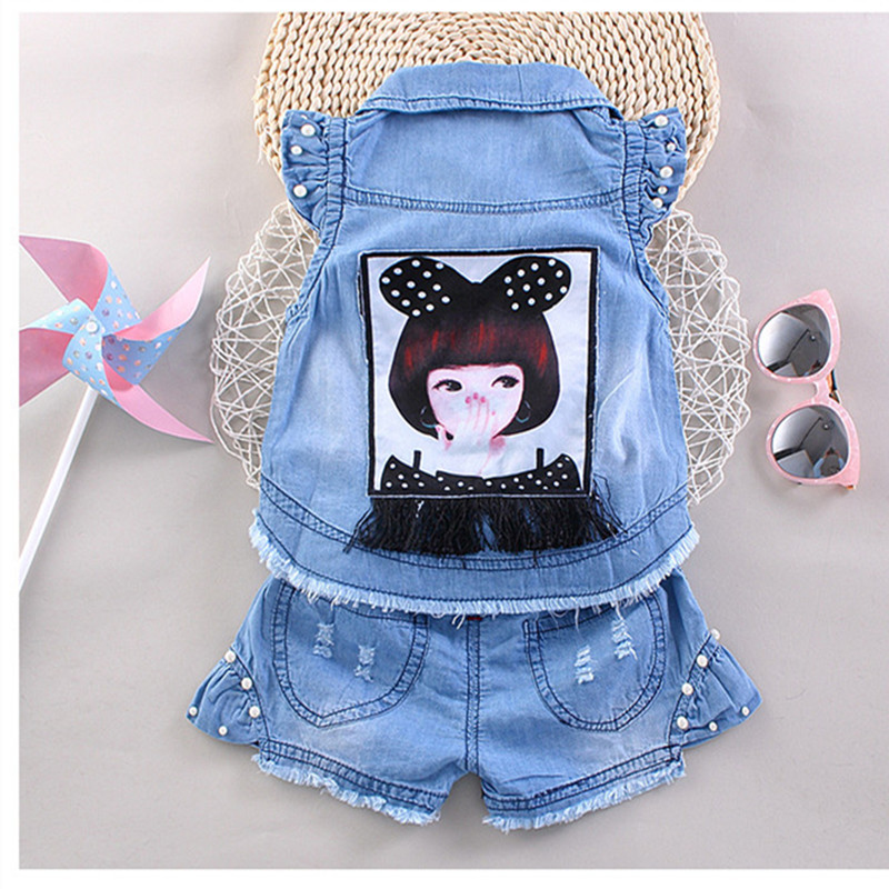 Toddler Girl Clothing Baby Girls Shorts Clothing Set Sleeveless Jean Shirt Shorts Suit Denim Blue 2pcs Set Girls Outfits 2-5T newborn toddler girls summer t shirt skirt clothing set kids baby girl denim tops shirt tutu skirts party 3pcs outfits set