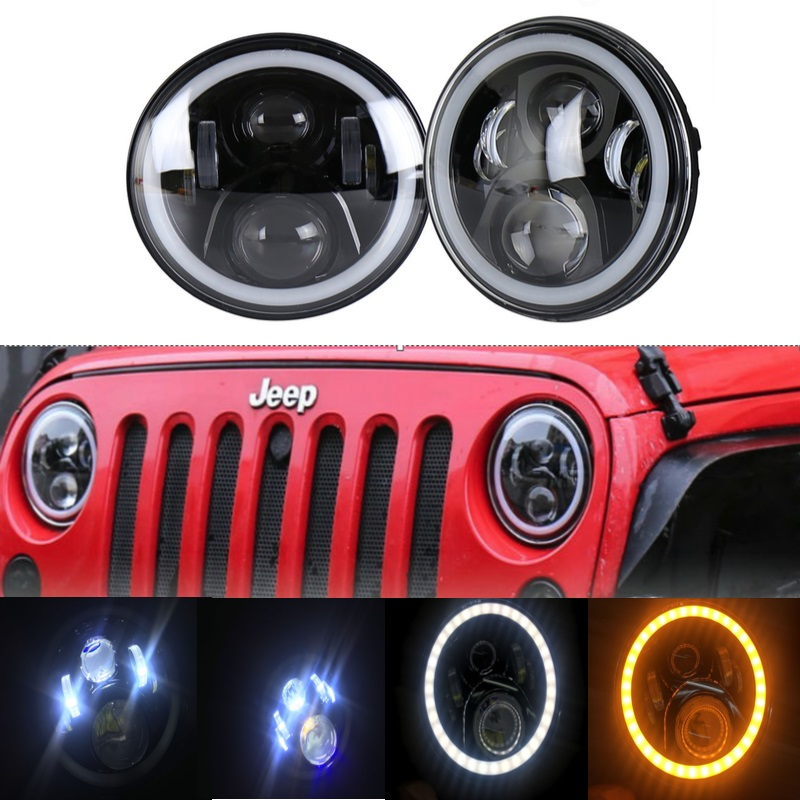 7Inch LED Headlight Conversion Kits with Super Bright DLR Amber Turn Signal Halo Ring for Jeep Wrangler Jk TJ Hummer Trucks7Inch LED Headlight Conversion Kits with Super Bright DLR Amber Turn Signal Halo Ring for Jeep Wrangler Jk TJ Hummer Trucks