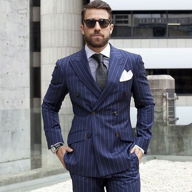 eb0e9a15140 Navy Blue Man suit Double Breasted Pinstripe Men Suits For Wedding Slim fit  Business Pattern Formal