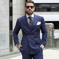 Navy Blue Man suit Double Breasted Pinstripe Men Suits For Wedding Slim fit Business Pattern Formal Custom 2 Piece Blazer Suits