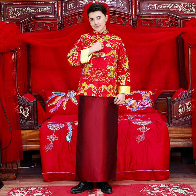 Elegant Men Red Marriage Suit Traditional Bridegroom Wedding Party Clothing Vintage Embroidery Cheongsam Male Tang Set Clothes