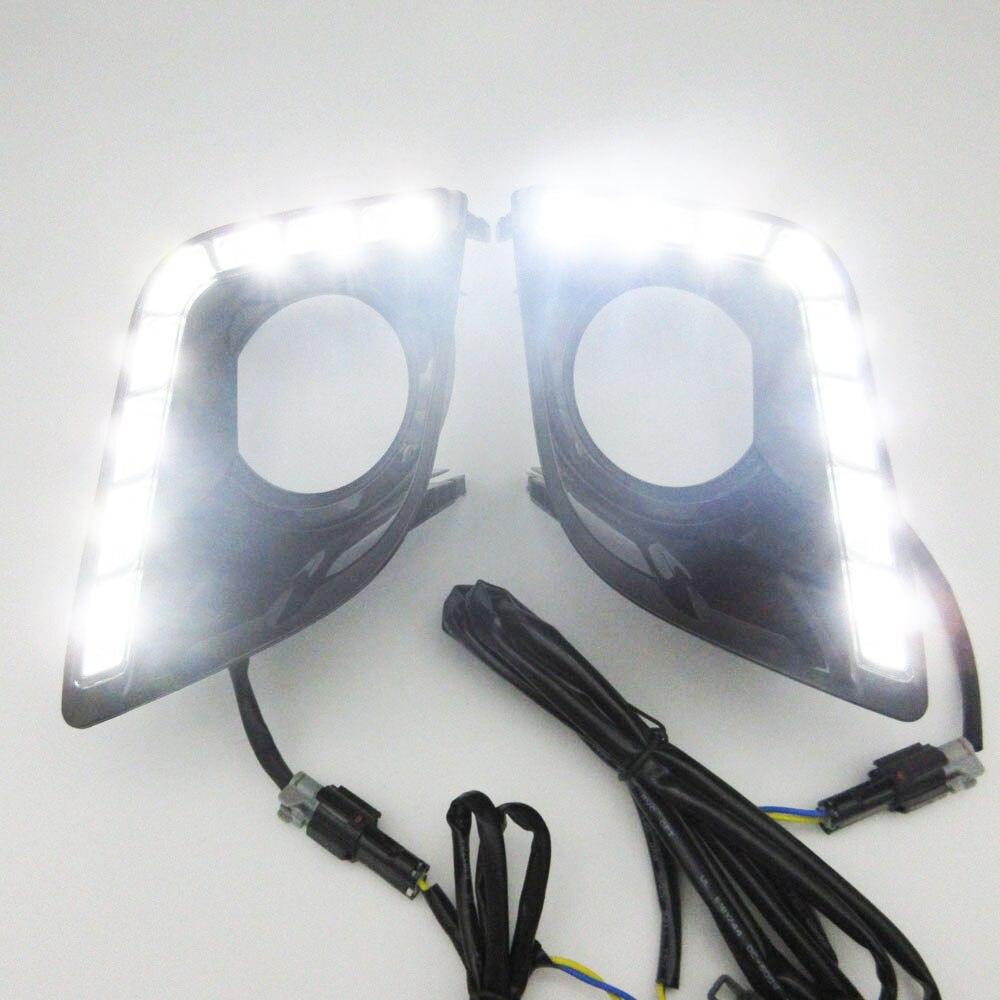 ФОТО CAR LED DRL Daytime Running Light with fog lamp hole for Toyota Prado FJ150 LC150 2010 2011 2012 2013 Land Cruiser