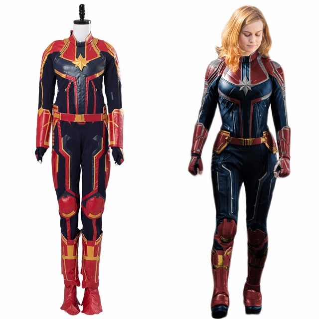 Avengers 4 Captain Marvel Cosplay Costume Jumpsuit Shoes Carol Danvers Costume -9393